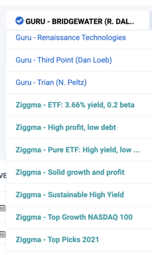 Ziggma model investment portfolios