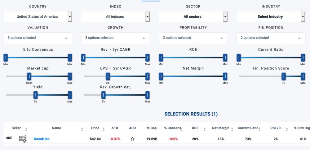 Search settings on Ziggma's best free stock screener